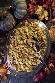 Thanksgiving stuffing in fall setting